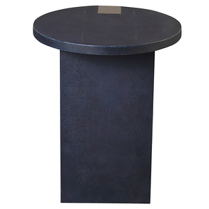 Worlds Away Round Accent Table with Antique Brass Support – Navy Shagreen