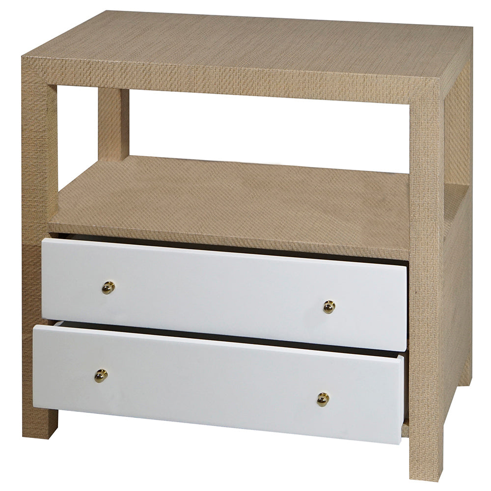 Worlds Away 2-Drawer Grasscloth Side Table with Brass Hardware   Natural