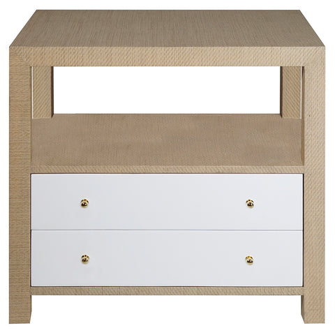 Worlds Away 2-Drawer Grasscloth Side Table with Brass Hardware – Natural