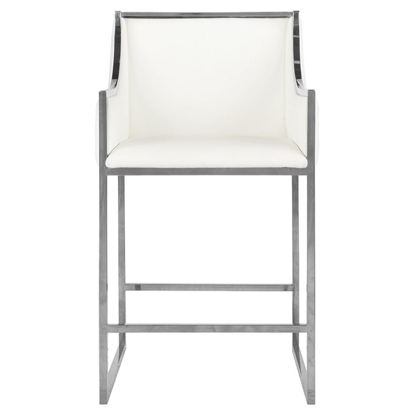 Worlds Away Nickel Square Counter Stool – White Faux Leather