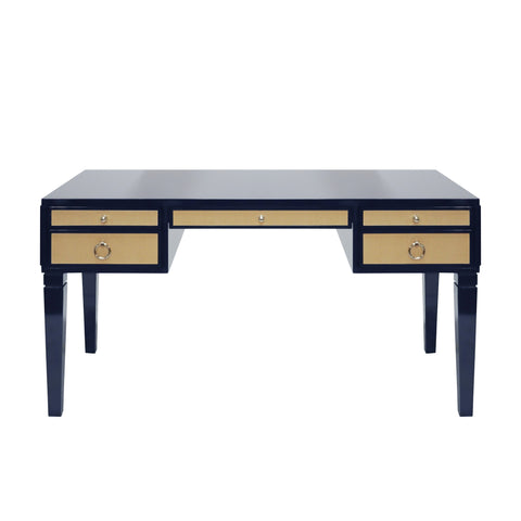Worlds Away Lacquer Desk with Grasscloth Drawers - Matte Navy and Nickel