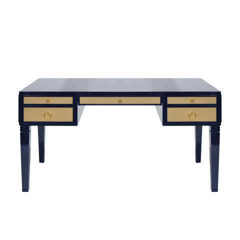 Worlds Away Lacquer Desk with Grasscloth Drawers - Matte Navy and Brass