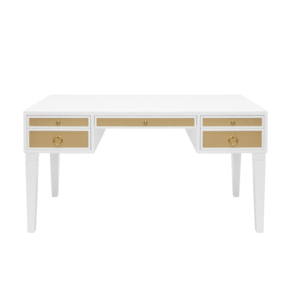 Worlds Away Lacquer Desk with Grasscloth Drawers - Matte White and Brass