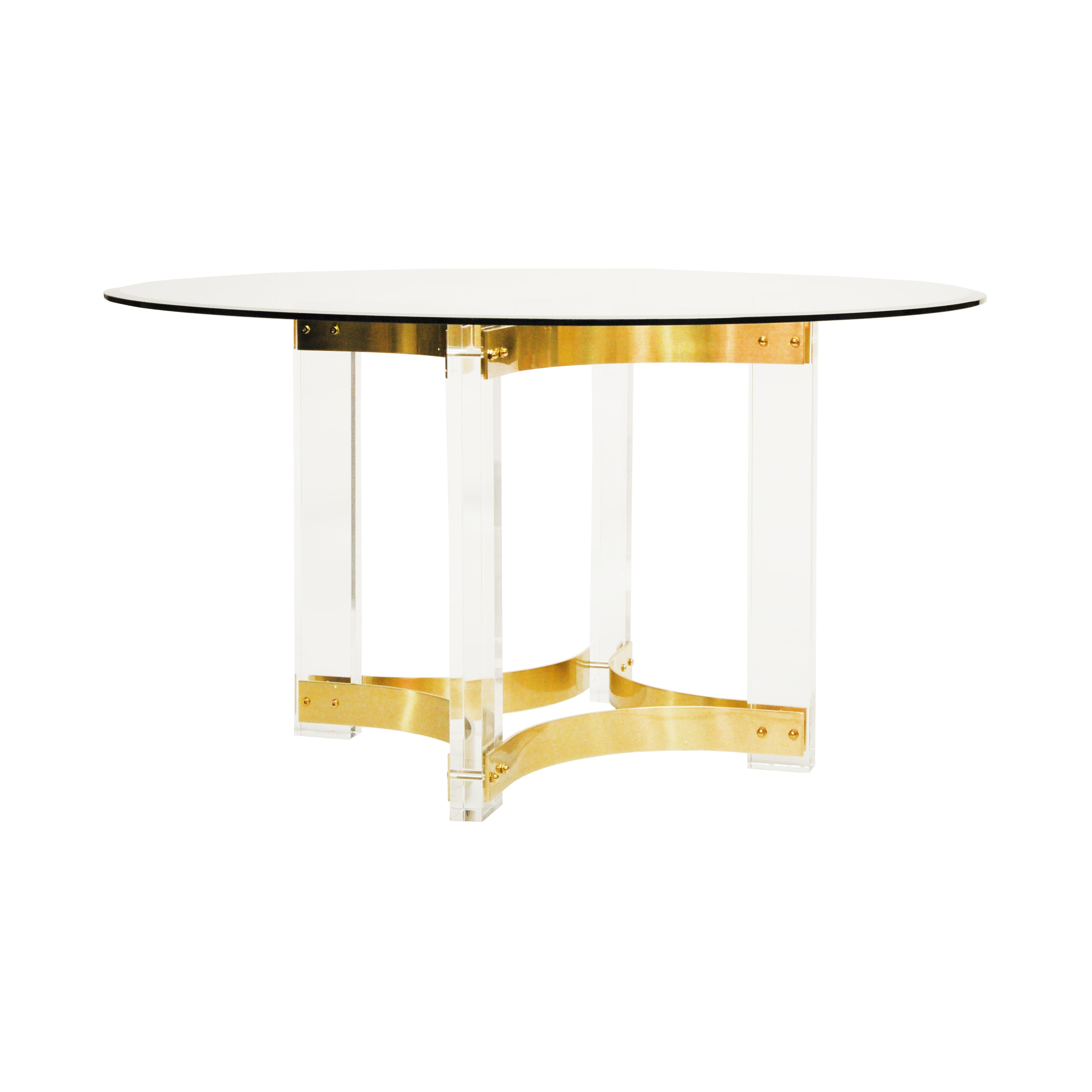 Worlds Away Hendrix Acrylic Dining Table Base With Antique Brass Stret Scenario Home