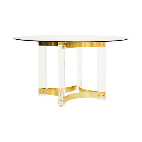 "Worlds Away Acrylic Dining Table Base with Antique Brass Stretchers – 48"" or 54"" Top"