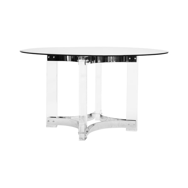 "Worlds Away Acrylic Dining Table Base with Nickel Stretchers – 48"" or 54"" Top"