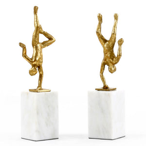 Bungalow 5 Cast Iron Handstand Figures with Gold Leaf - Set of 2