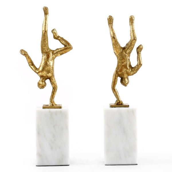 Bungalow 5 Cast Iron Handstand Figures with Gold Leaf – Set of 2