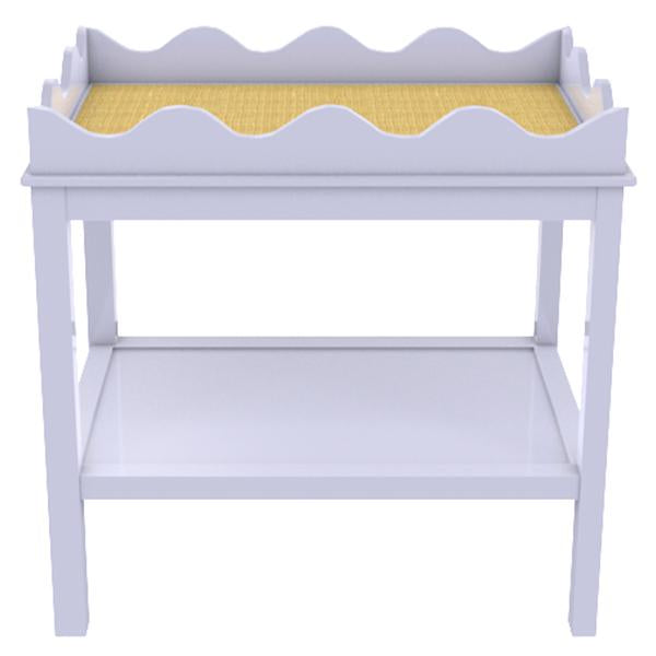 Scalloped Two-Tier Lacquer Side Table - Iris Blue (19 colors available)