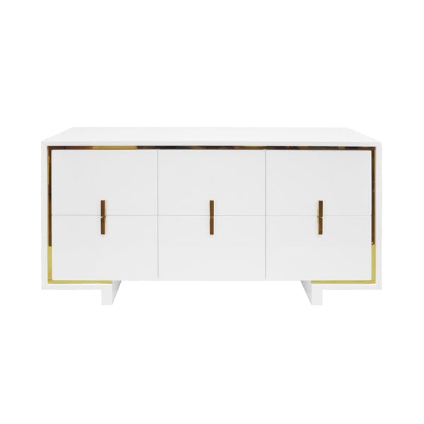 Worlds Away 6-Drawer Chest with Inset Brass – White Lacquer