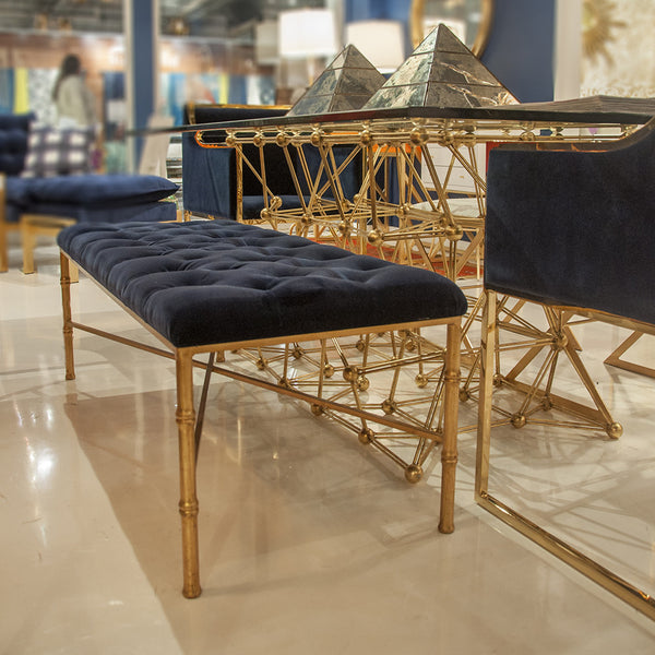 Worlds Away Gold Bamboo Bench with Tufted Velvet Seat – Navy
