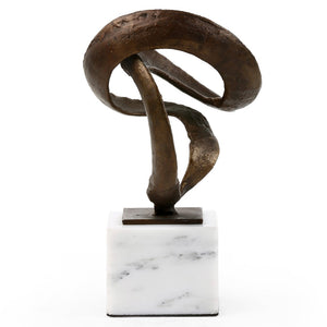 Bungalow 5 Cast Iron Ribbon Sculpture on Marble Base – Bronze