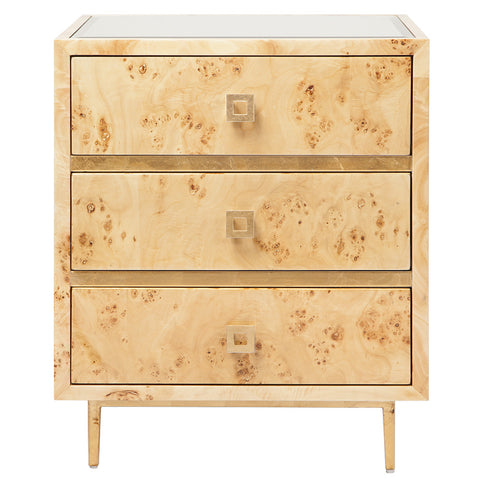 Worlds Away Contemporary Wood Nightstand – Gold Leaf