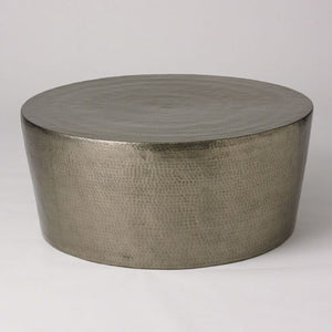 Round Hammered Cocktail Table - Antique Nickel