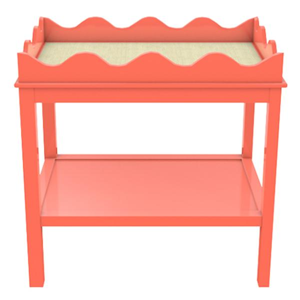 Scalloped Two-Tier Lacquer Side Table - Coral (19 colors available)