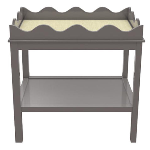 Scalloped Two-Tier Lacquer Side Table - Charcoal Grey (19 colors available)