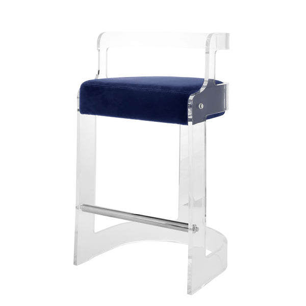 Worlds Away Clear Barrel Back Counter Stool with Nickel Accents – Navy Velvet