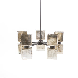 Ava Large Chandelier - Aged Metallic Glass