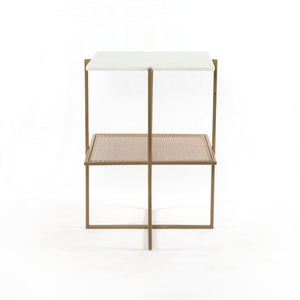 Olivia Night Table - Antique Brass & Marble