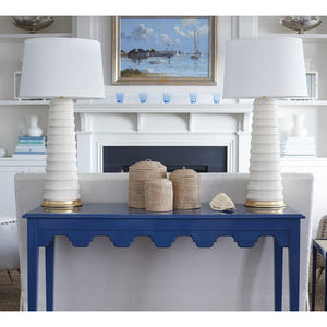Bristol Scalloped Lacquer Console Table - Dove White (Additional Colors Available)