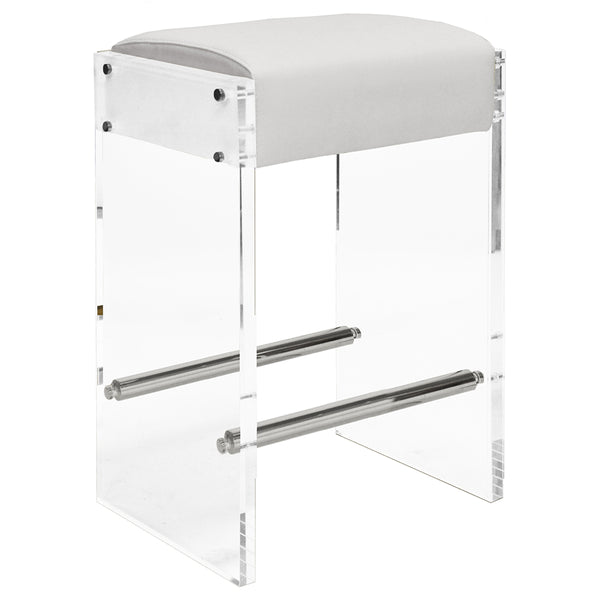 Worlds Away Acrylic Panels Counter Stool with Nickel Accents – White Vinyl