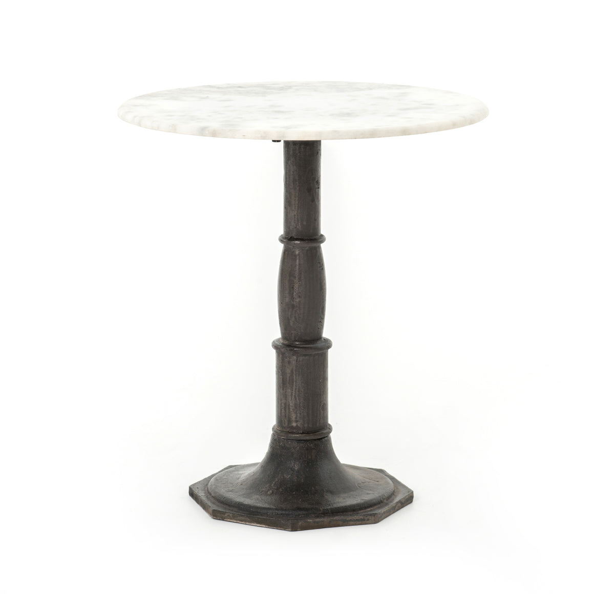 Lucy Round Marble & Iron Side Table