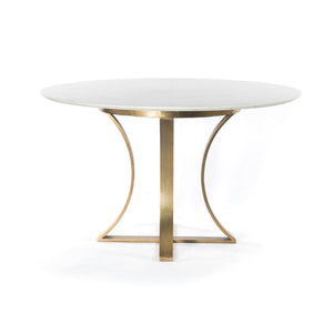 "Gage 48"" Round Dining Table - Marble & Brass"