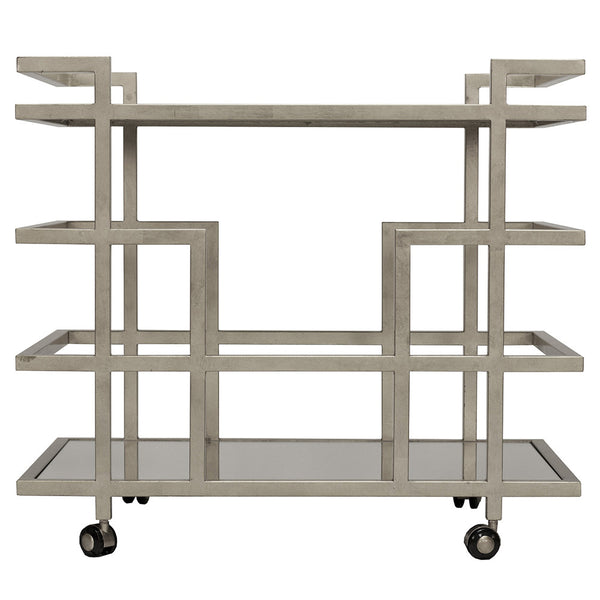 Worlds Away Bar Cart with Mirror Shelves – Silver Leaf