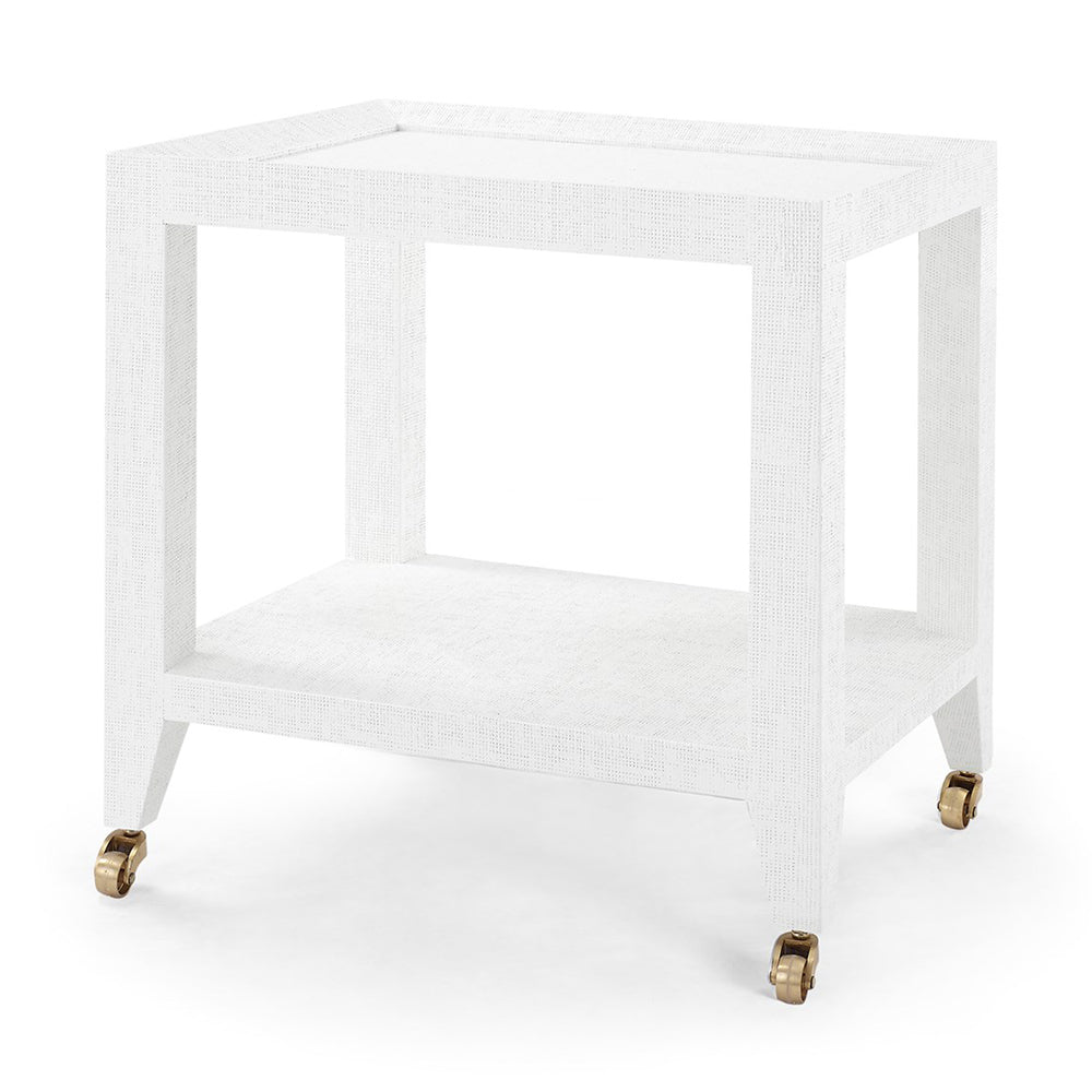 Bungalow 5 Lacquered Grasscloth Tea Table with Casters - White