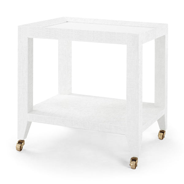 Bungalow 5 Lacquered Grasscloth Tea Table with Casters – White
