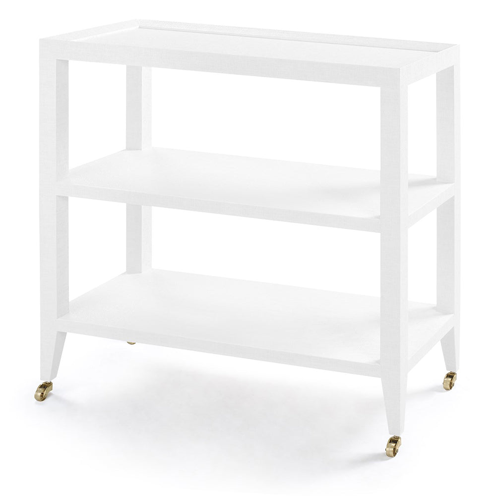 Bungalow 5 Lacquered Grasscloth 2-Shelf Console Table – White