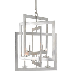 Currey and Company Interlocking Squares Chandelier – Silver Leaf
