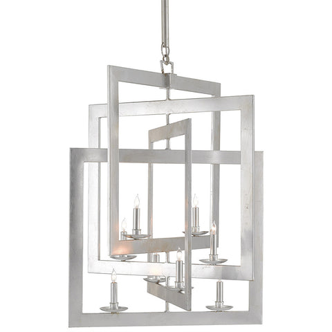 Interlocking Squares Chandelier – Silver Leaf