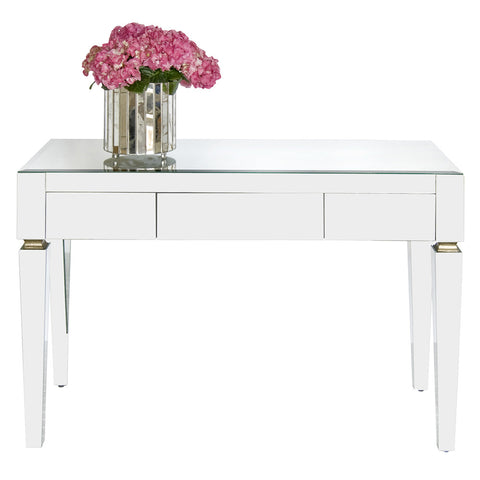 Worlds Away Simplicity Desk with Beveled Glass – White