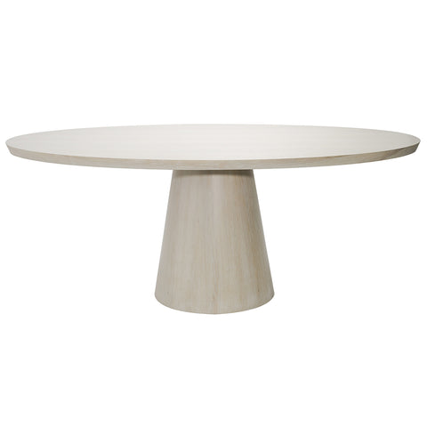 Worlds Away Pedestal Oval Dining Table – Cerused Oak