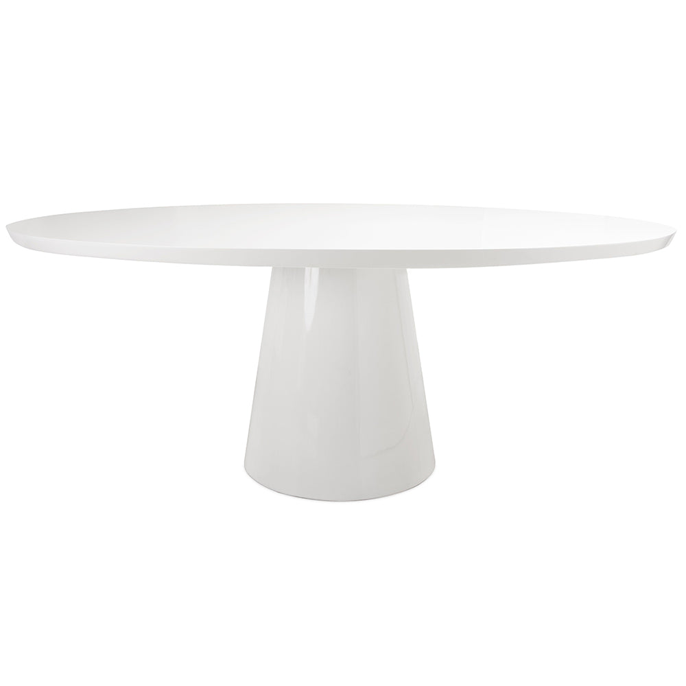 Worlds Away Pedestal Oval Dining Table – White Lacquer