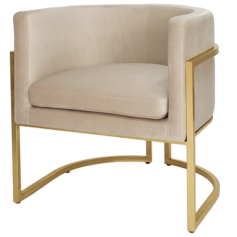 Worlds Away Barrel Arm Chair with Gold Leaf Frame – Cream Velvet