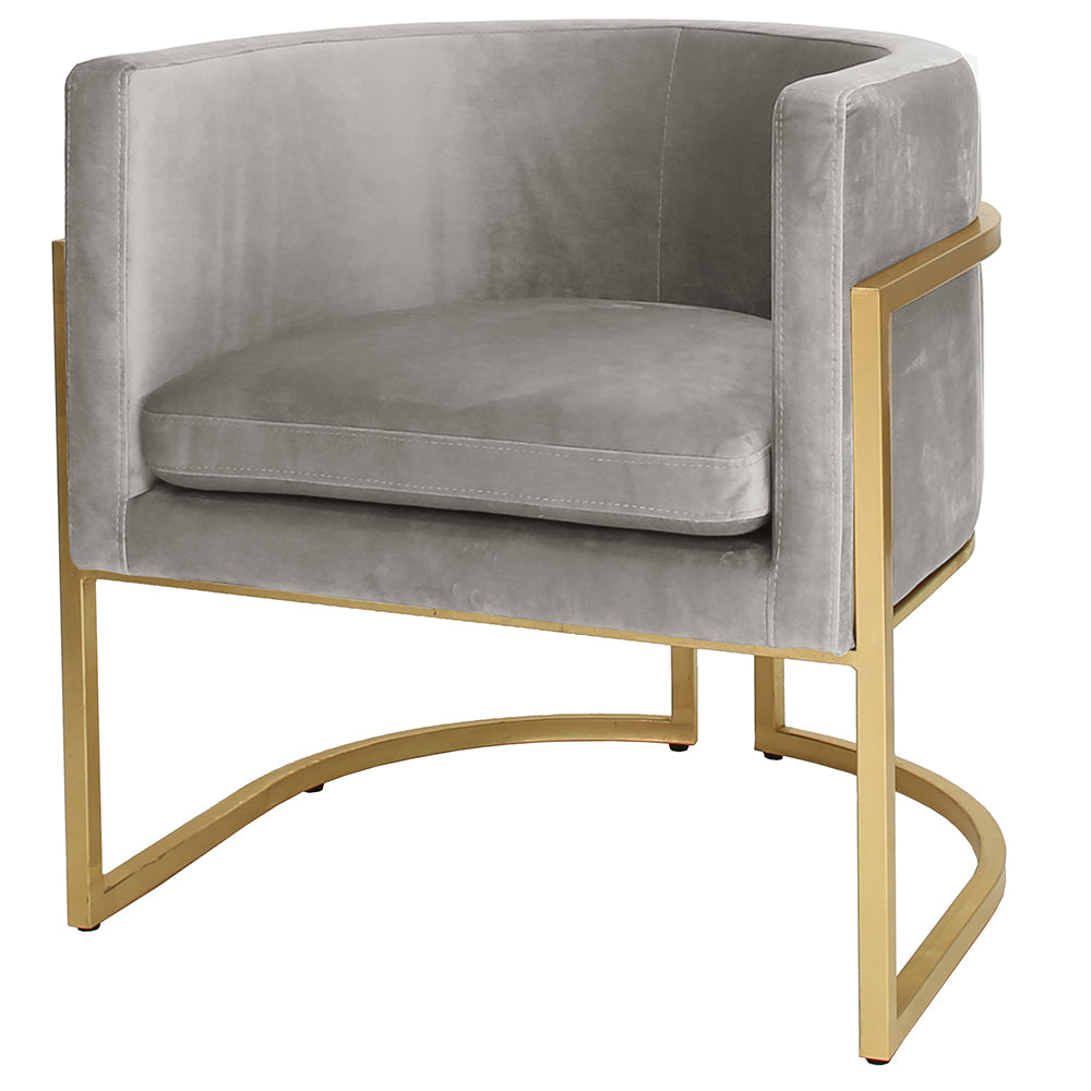 Worlds Away Jenna Barrel Arm Chair with Gold Leaf Frame - Grey Velvet