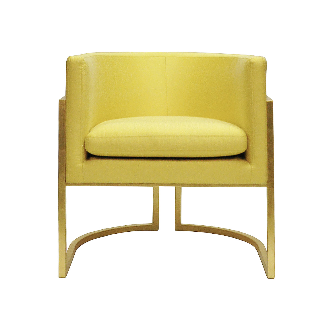 Worlds Away Jenna Barrel Arm Chair with Gold Leaf Frame - Citron Upholstery