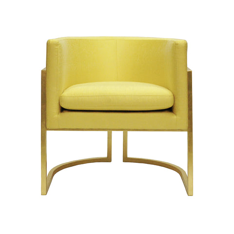 Worlds Away Barrel Arm Chair with Gold Leaf Frame – Citron Upholstery