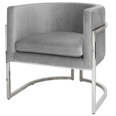Worlds Away Barrel Arm Chair with Nickel Frame – Grey Velvet