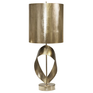 Worlds Away Modern Table Lamp with Metal Shade – Silver Leaf