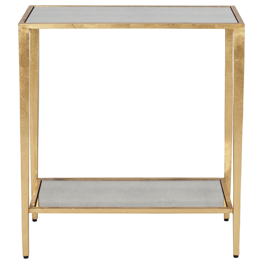 Worlds Away Simplicity Gold Leaf Side Table Antique Mirror Top