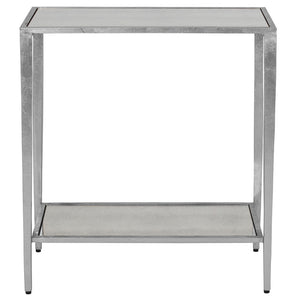 Worlds Away Simplicity Silver Leaf Side Table - Antique Mirror Top