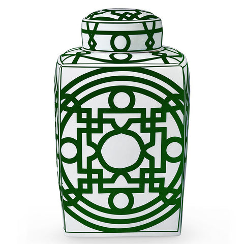 Bungalow 5 Square Porcelain Temple Jar with Lid – Green & White
