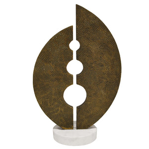 Worlds Away Stamped Metal Sculpture on Marble Base – Antique Brass