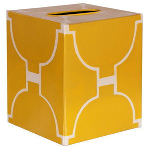 Worlds Away Decorative Tissue Box – Yellow Hourglass Pattern