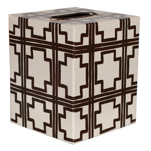 Worlds Away Decorative Tissue Box - Brown Squares Pattern