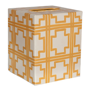 Worlds Away Decorative Tissue Box – Yellow Squares Pattern