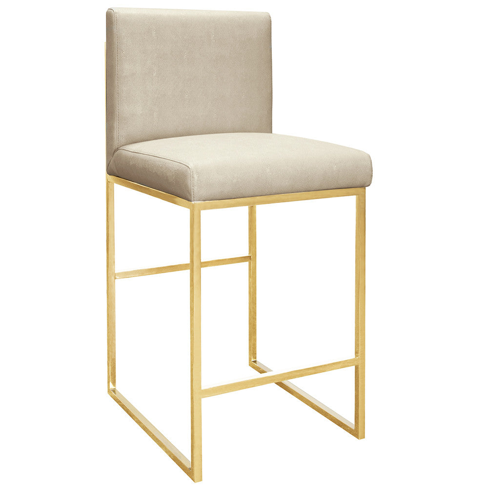 Worlds Away Brass Square Counter Stool – Beige Faux Shagreen